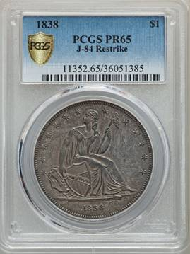 Tied for Highest Graded, Desirable 1838 Gobrecht Dollar PCGS